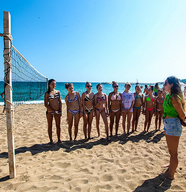 Volleyball net on the beach in an English camp in Bulgaria