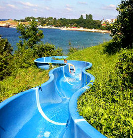 Attraction: a water slide leading from the camp directly to the beach
